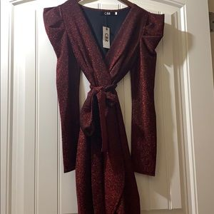 Red and black long sleeve sequin party club dress